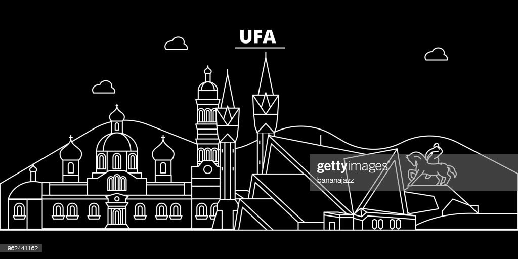 Ufa silhouette skyline. Russia - Ufa vector city, russian linear architecture, buildings. Ufa travel illustration, outline landmarks. Russia flat icon, russian line banner