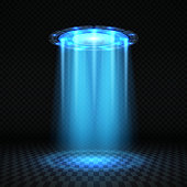Ufo blue light beam, futuristic alien spaceship isolated vector illustration