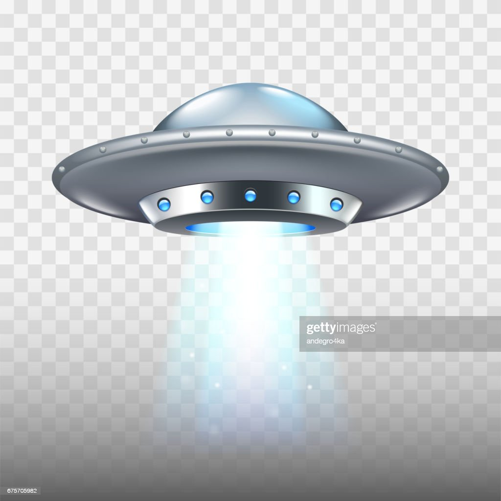 Ufo flying spaceship isolated on white vector