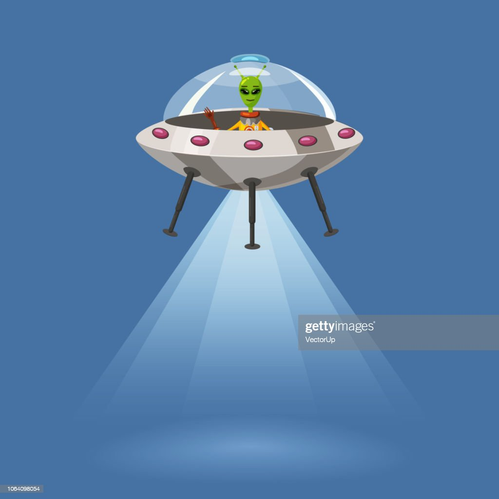 Ufo flying spaceship with alien, isolated on blue background, rays light, cartoon style, vector illustration. Concept, template