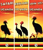 Uganda banners set with Crowned Cranes