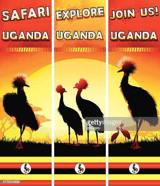 uganda banners set with crowned cranes - uganda stock illustrations, clip art, cartoons, & icons