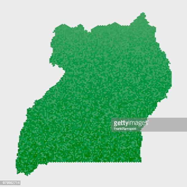Uganda-Land-Map-grünen Sechseck-Muster