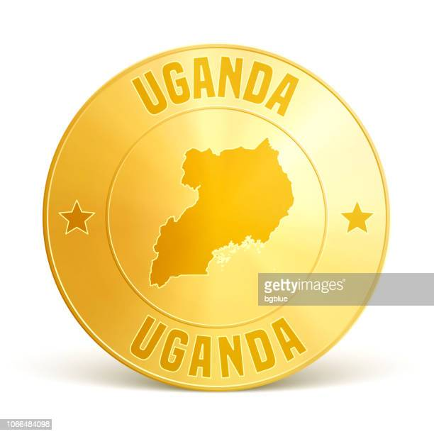 uganda - gold coin on white background - uganda stock illustrations, clip art, cartoons, & icons