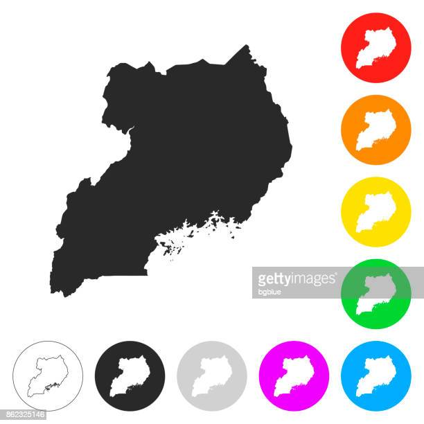 uganda map - flat icons on different color buttons - uganda stock illustrations, clip art, cartoons, & icons
