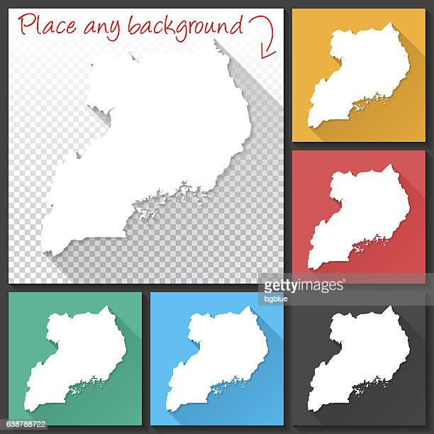 uganda map for design, long shadow, flat design - uganda stock illustrations, clip art, cartoons, & icons