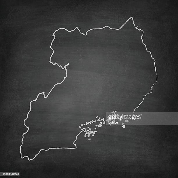 uganda map on blackboard - chalkboard - uganda stock illustrations, clip art, cartoons, & icons