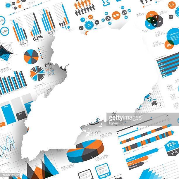 uganda map on infographic background - uganda stock illustrations, clip art, cartoons, & icons