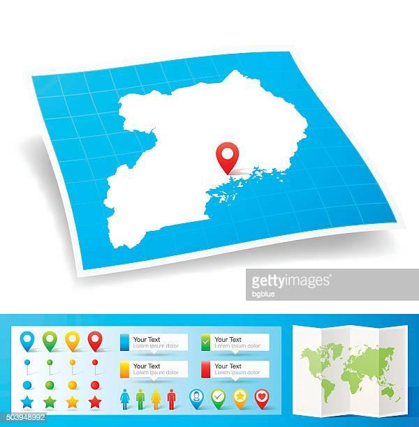 uganda map with location pins isolated on white background - uganda stock illustrations, clip art, cartoons, & icons