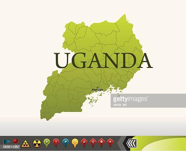 uganda map with navigation icons - uganda stock illustrations, clip art, cartoons, & icons