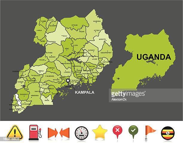uganda navigation map - uganda stock illustrations, clip art, cartoons, & icons