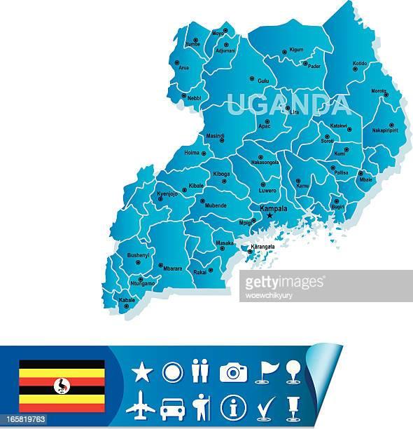 uganda vector map - uganda stock illustrations, clip art, cartoons, & icons
