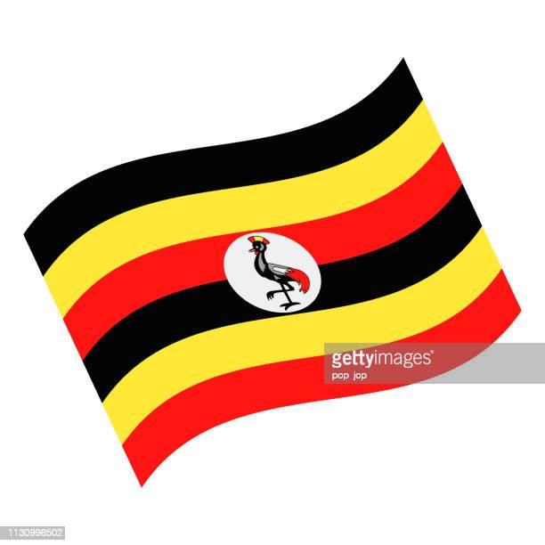 uganda - waving flag vector flat icon - uganda stock illustrations, clip art, cartoons, & icons
