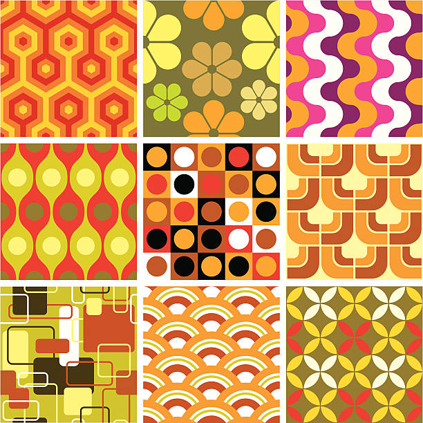 ugly retro seamless patterns - cool attitude stock illustrations
