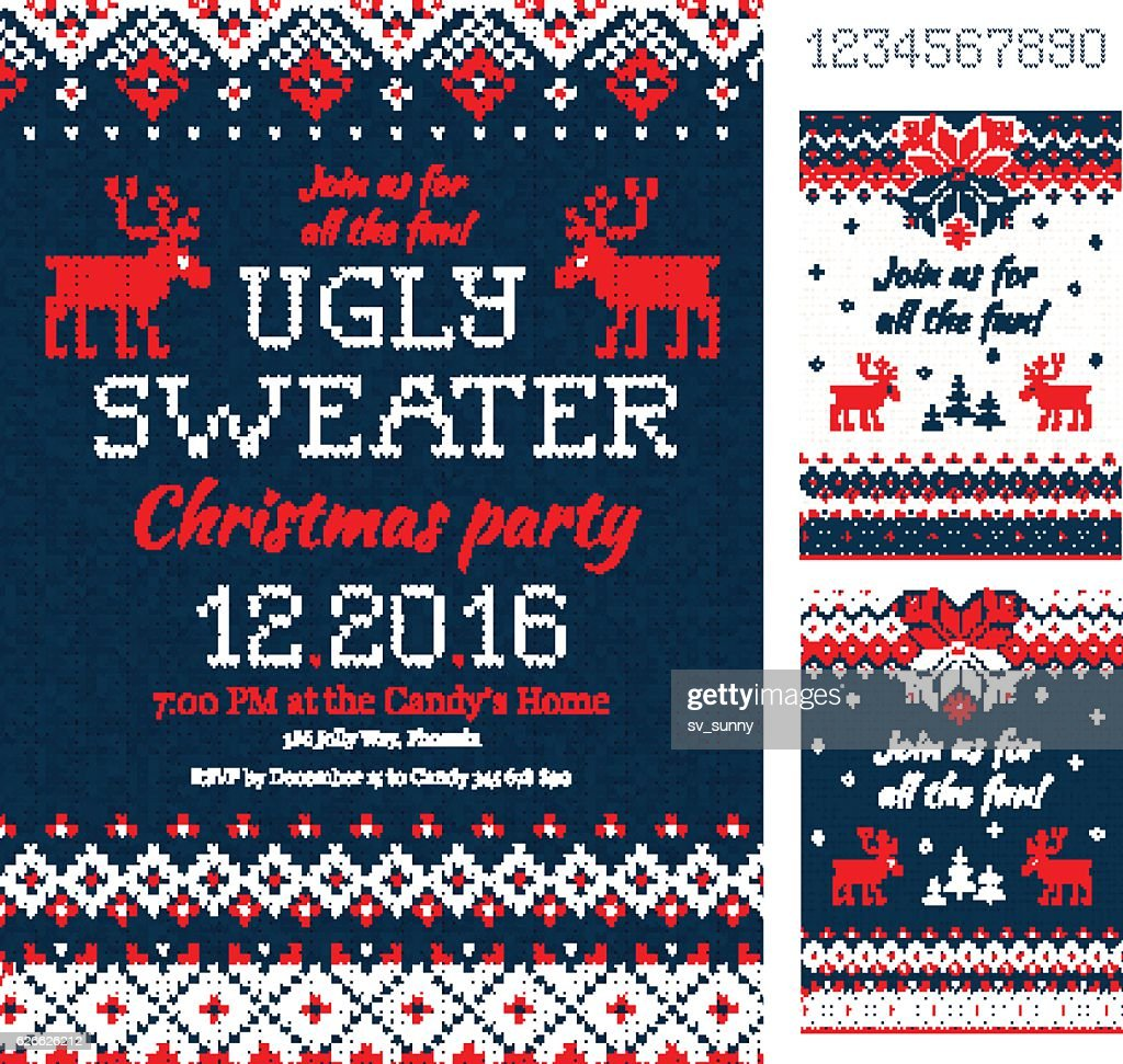 Ugly Sweater Christmas Party cards. Knitted pattern. Scandinavian