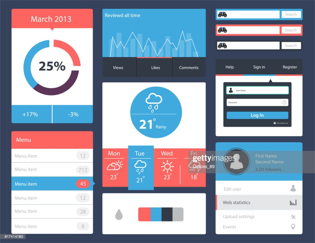 Ui kit for website and mobile app designs