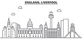 Uk. Liverpool architecture line skyline illustration. Linear vector cityscape with famous landmarks, city sights, design icons. Landscape wtih editable strokes