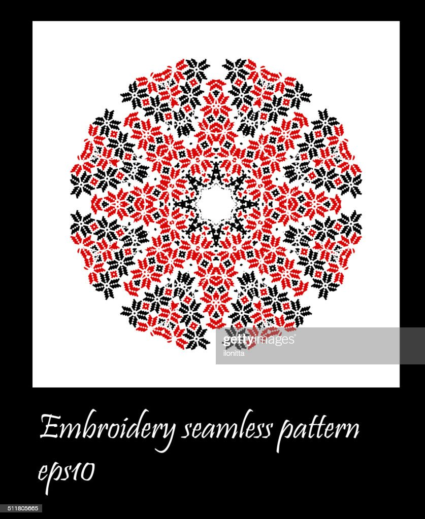 Ukraine embroidery seamless pattern in square shape. Pixel vecto