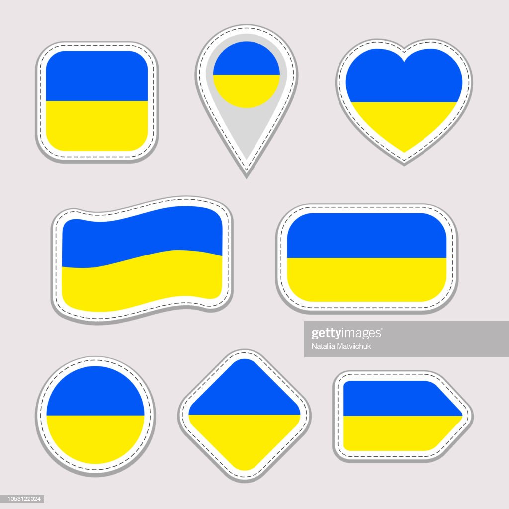 Ukraine flag collection. Set of Ukrainian national symbols stickers. Flat isolated icons, traditional colors. Illustration. Web, sports pages, travel, geographic, cartographic design elements.