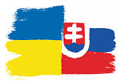 Ukraine Flag & Slovakia Flag Vector Hand Painted with Rounded Brush
