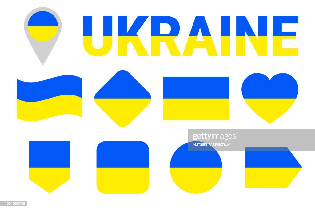 Ukraine flag vector collection. Set of Ukrainian national flags. Flat isolated icons, traditional colors. Illustration. Web, sports pages, travel, geographic, cartographic design elements