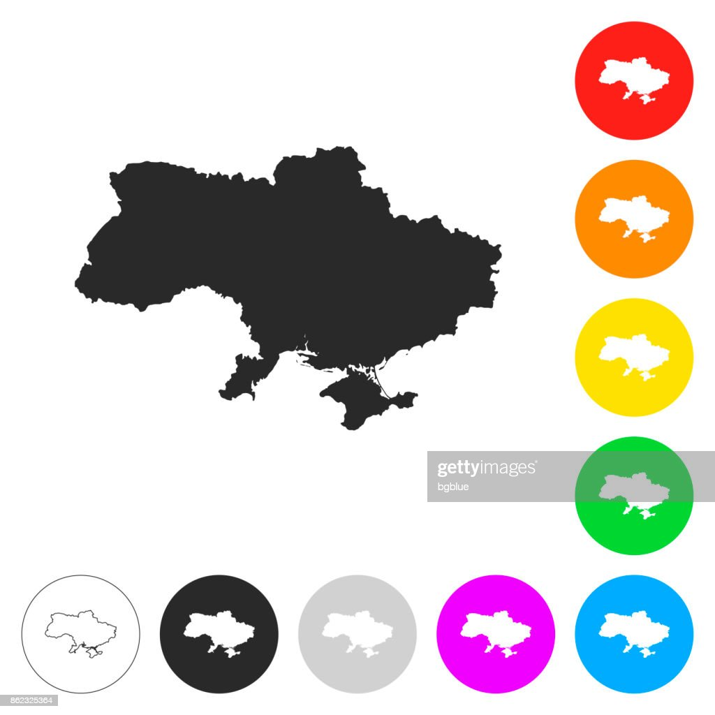 Ukraine map - Flat icons on different color buttons