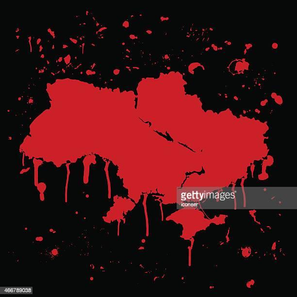 ウクライナマップグラフィティレッド splats に黒色の壁 - 血しぶき点のイラスト素材/クリップアート素材/マンガ素材/アイコン素材