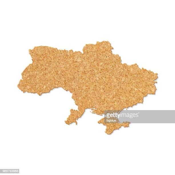 karte der ukraine in cork tisch-struktur auf weißem hintergrund - ukraine stock-grafiken, -clipart, -cartoons und -symbole