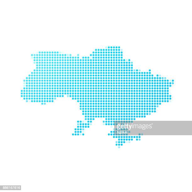 illustrations, cliparts, dessins animés et icônes de carte de l'ukraine de points bleus sur fond blanc - ukraine