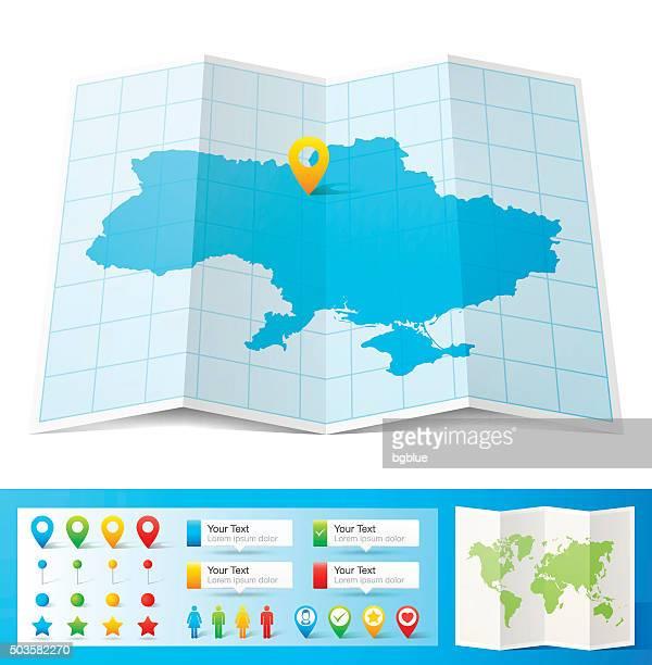 ukraine karte mit lage pins, isoliert auf weißem hintergrund - ukraine stock-grafiken, -clipart, -cartoons und -symbole