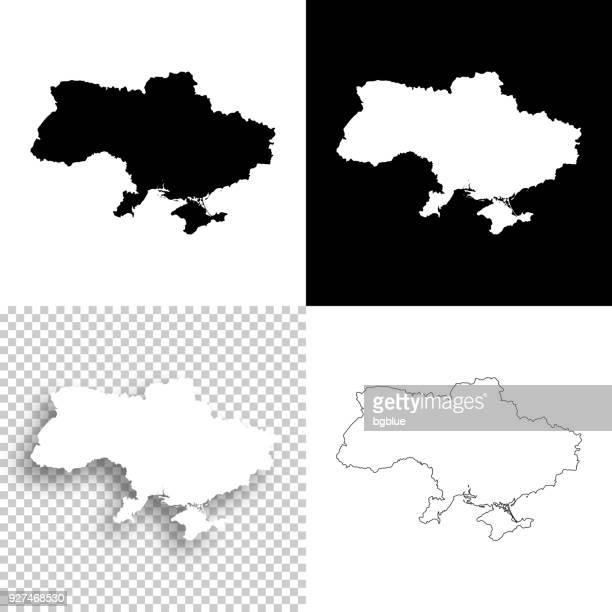 Ukraine Karten für Design - leere, weiße und schwarze Hintergründe