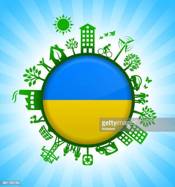 Ukrainian Flag on Environmental Conservation Background