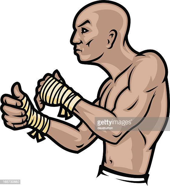 ultimate cage fighter - fighting stance stock illustrations, clip art, cartoons, & icons