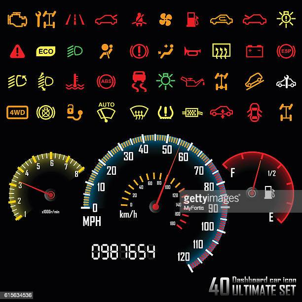 ultimate dashboard 40 icons. - car stock illustrations, clip art, cartoons, & icons