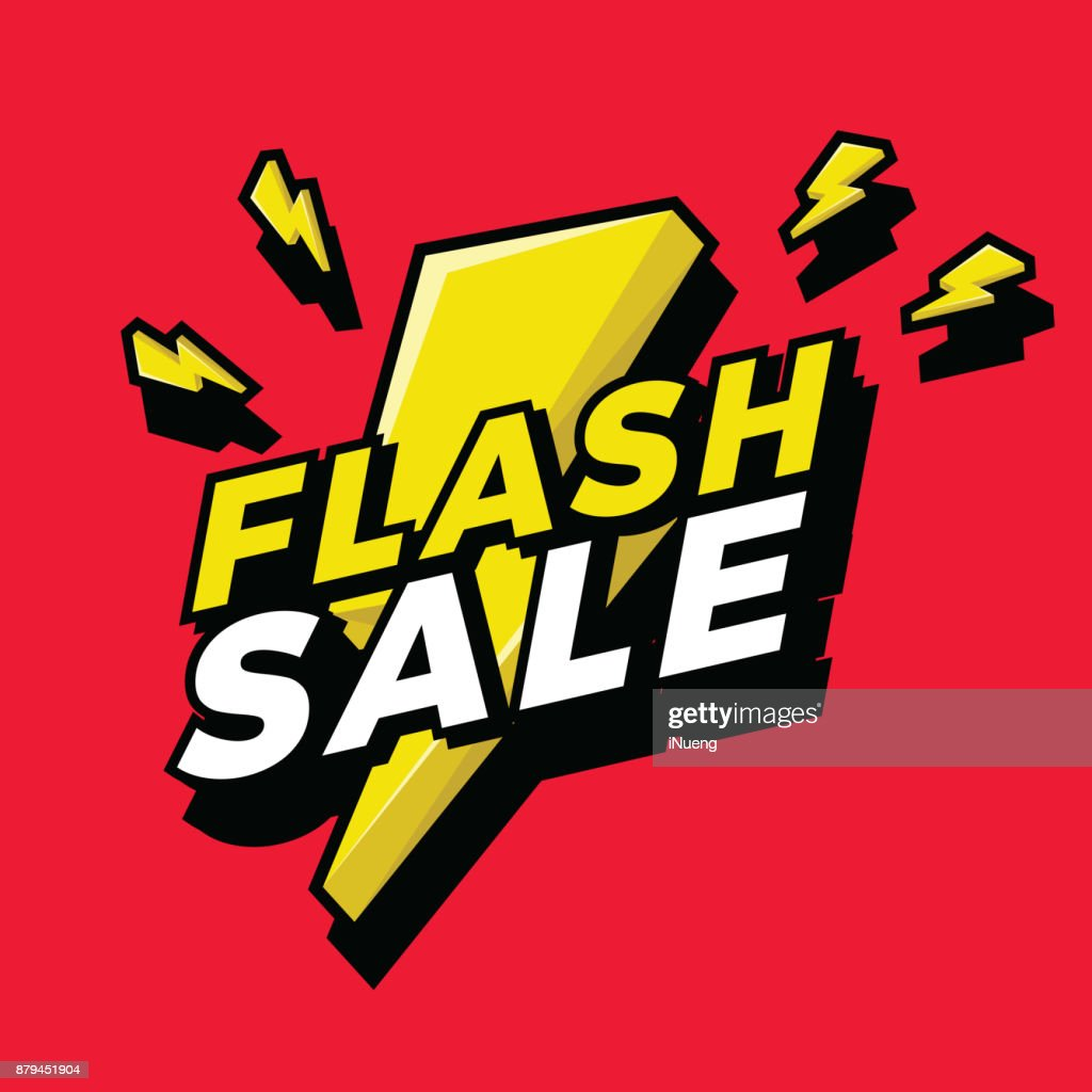 Ultra Dynamic 3D Flash Sale Sign with Bright Yellow Lightening Bolt.