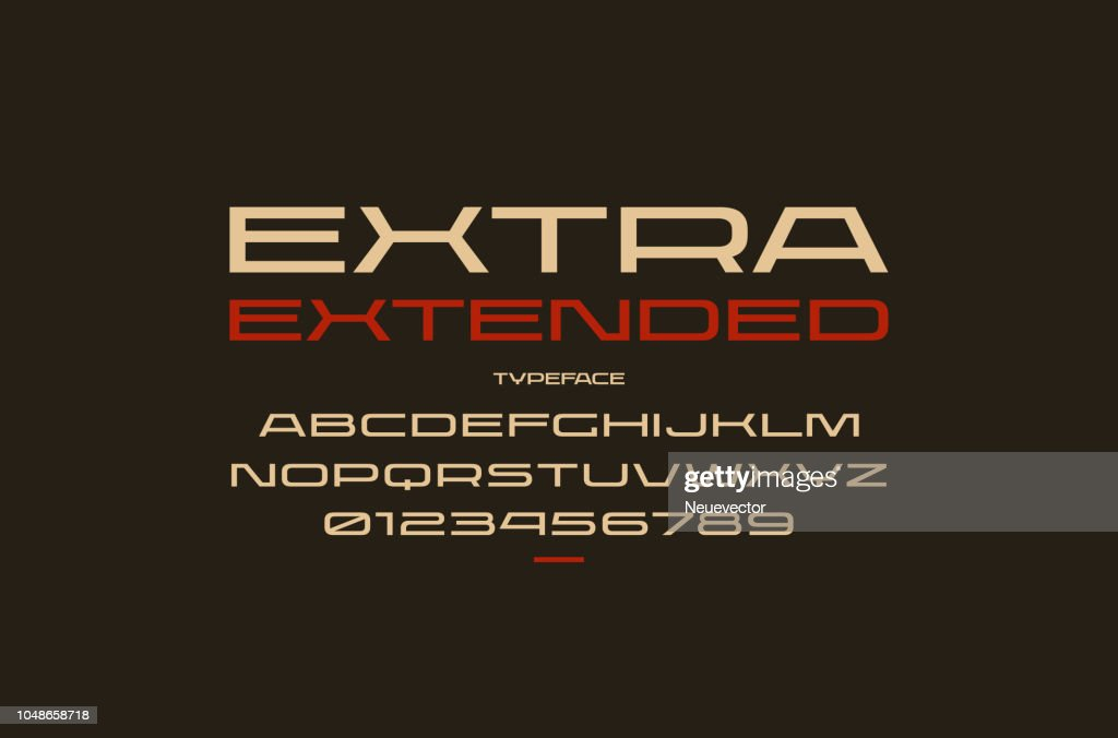 Ultra expanded sans serif font in sport style