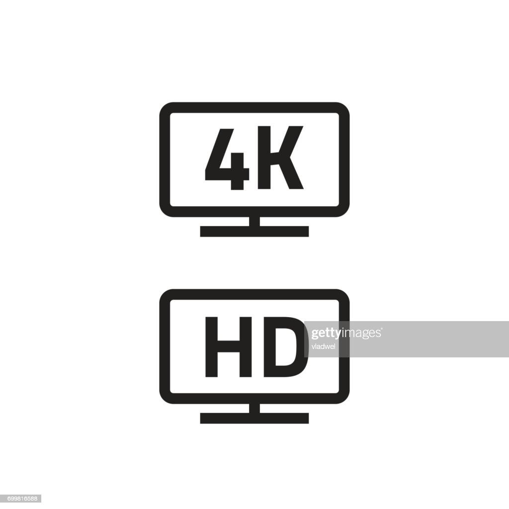 ultra hdtv 4k, full hd television icons line outline style