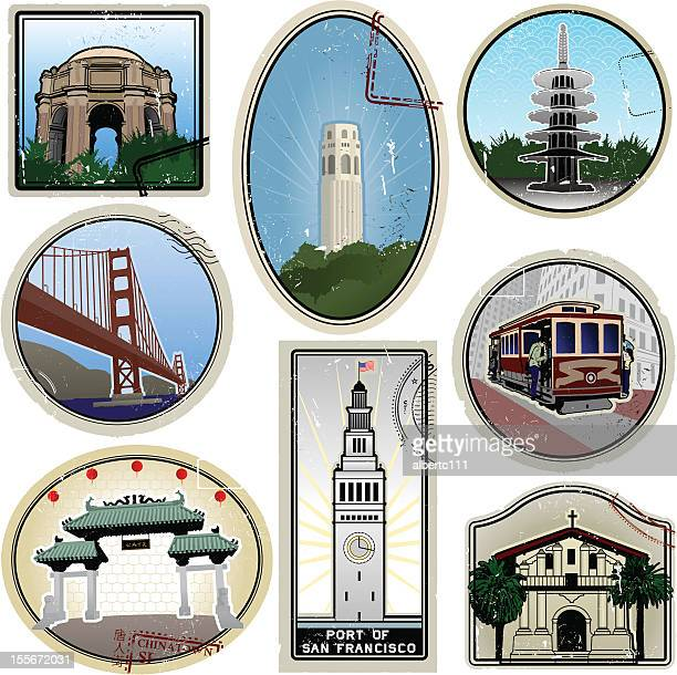 Ultra stylized San Francisco retro suitcase style travel stickers