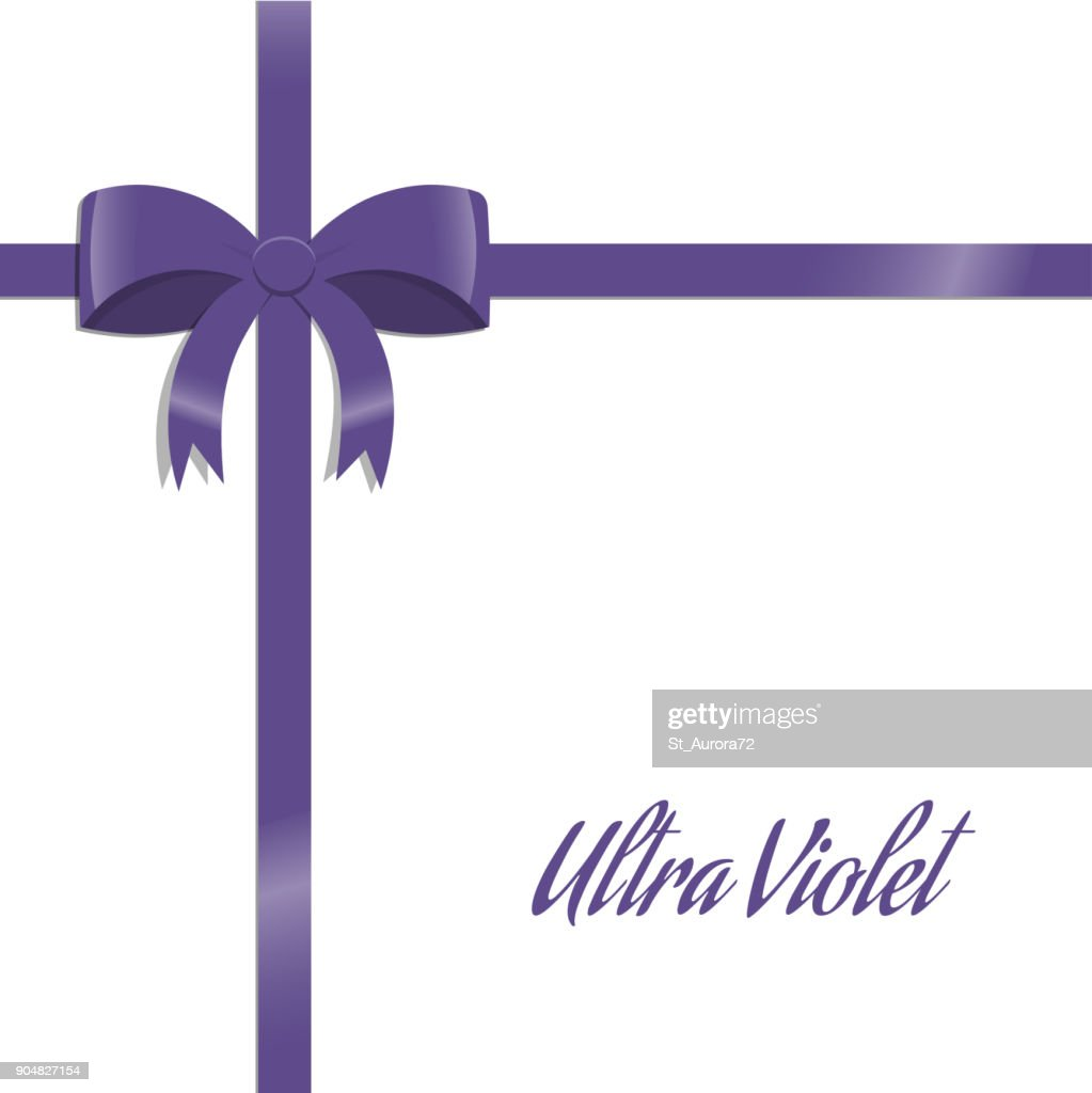 Ultra violet bow and ribbon. Gift card. Holiday wrapping template.