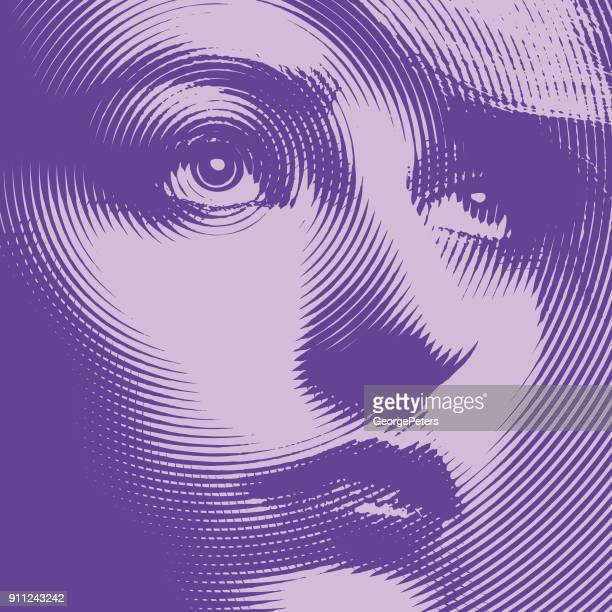 Ultra violet close up engraving of a young woman's face