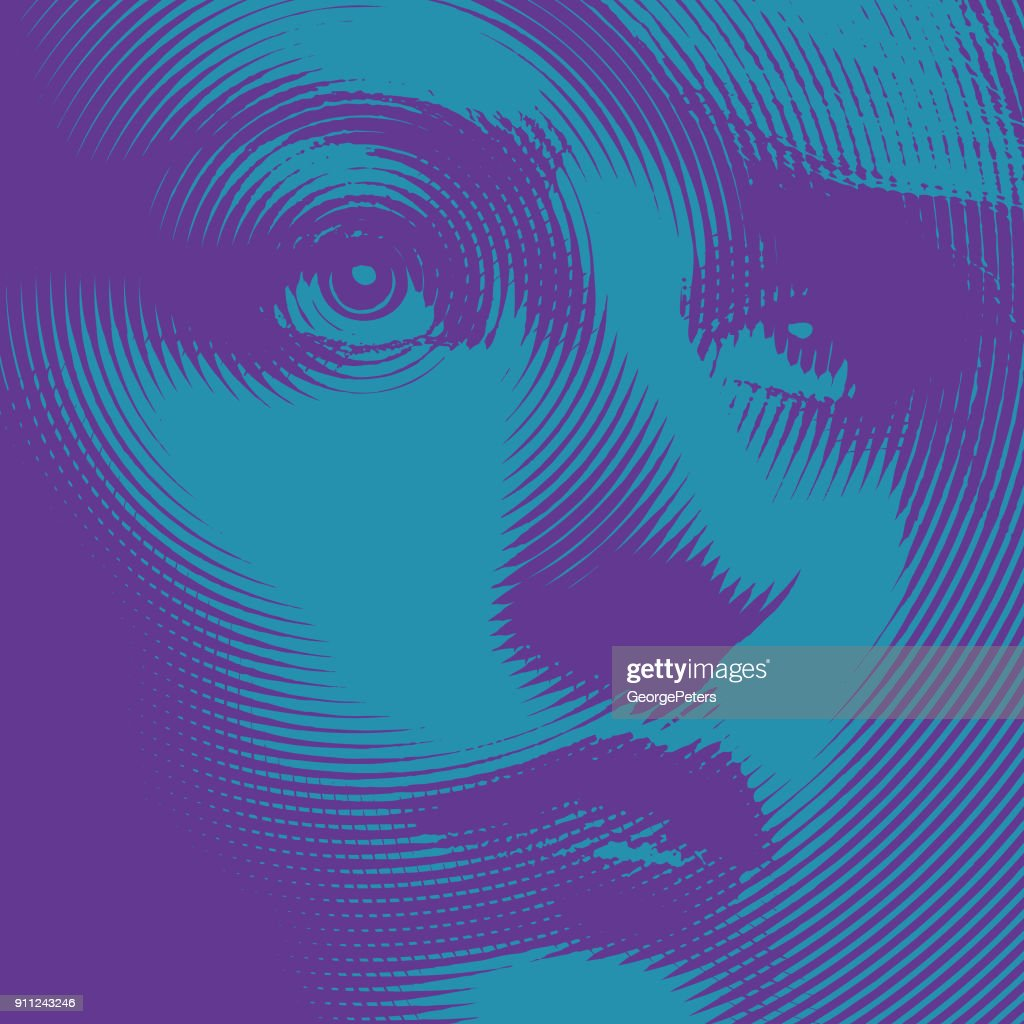 Ultra violet close up engraving of a young woman's face : stock illustration
