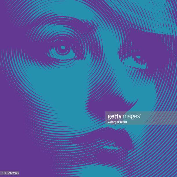 ultra violet close up engraving of a young woman's face - ophthalmology stock illustrations, clip art, cartoons, & icons