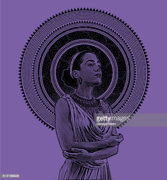 Ultra Violet Engraved Portrait of a young mixed race woman framed with stars and space