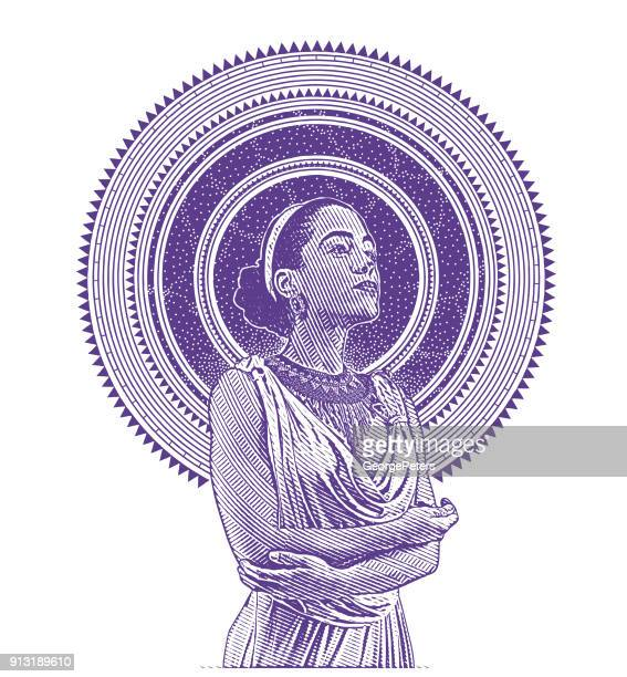 ultra violet engraved portrait of a young mixed race woman framed with stars and space - me too social movement stock illustrations, clip art, cartoons, & icons