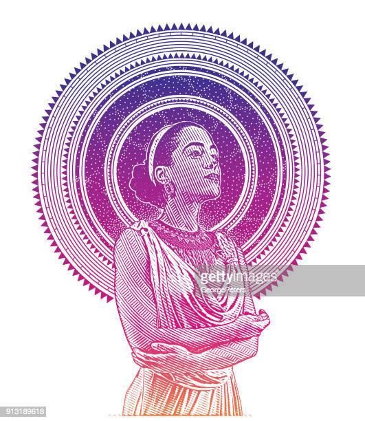 ultra violet engraved portrait of a young mixed race woman framed with stars and space - black civil rights stock illustrations, clip art, cartoons, & icons