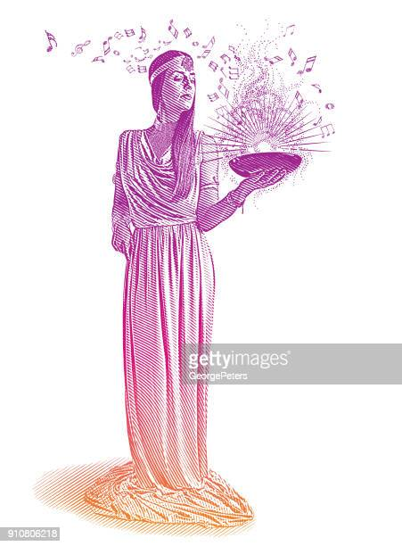 ultra violet engraving of a beautiful female musician composing music - wizard stock illustrations, clip art, cartoons, & icons