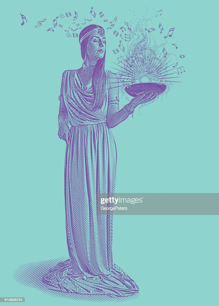 Ultra violet engraving of a beautiful female musician composing music : stock illustration