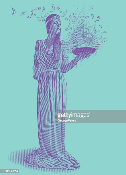 ultra violet engraving of a beautiful female musician composing music - potion stock illustrations