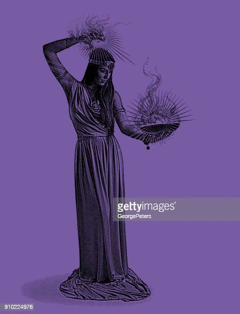 Ultra Violet engraving of a beautiful female wizard casting spell