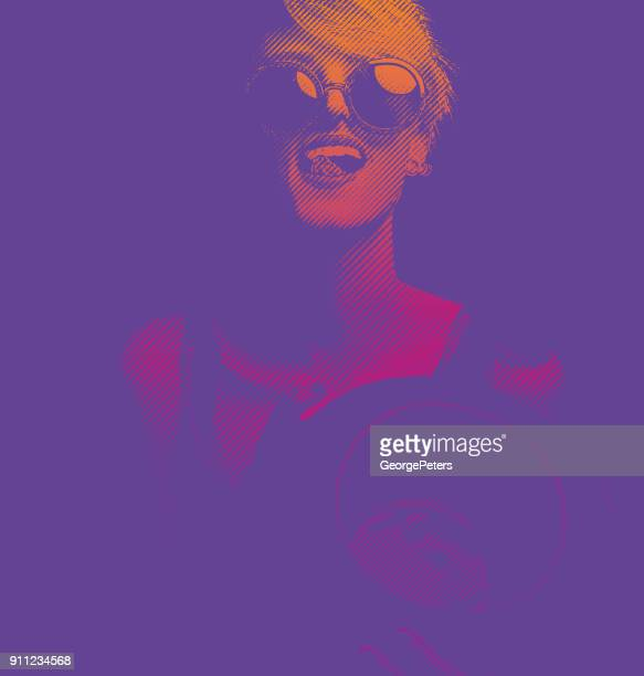 Ultra violet engraving of a happy, sensuous young woman